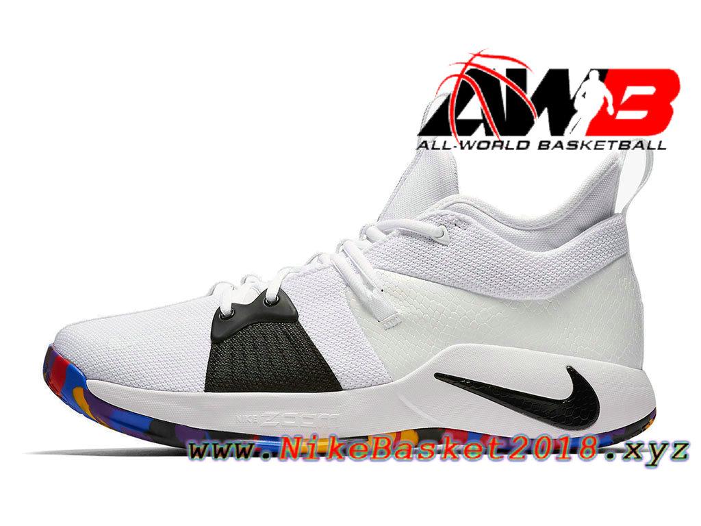 competitive price 18a05 029c4 Chaussure de BasketBall Pas Cher Pour Homme Nike PG 2 Blanc Noir AJ5164-100  ...