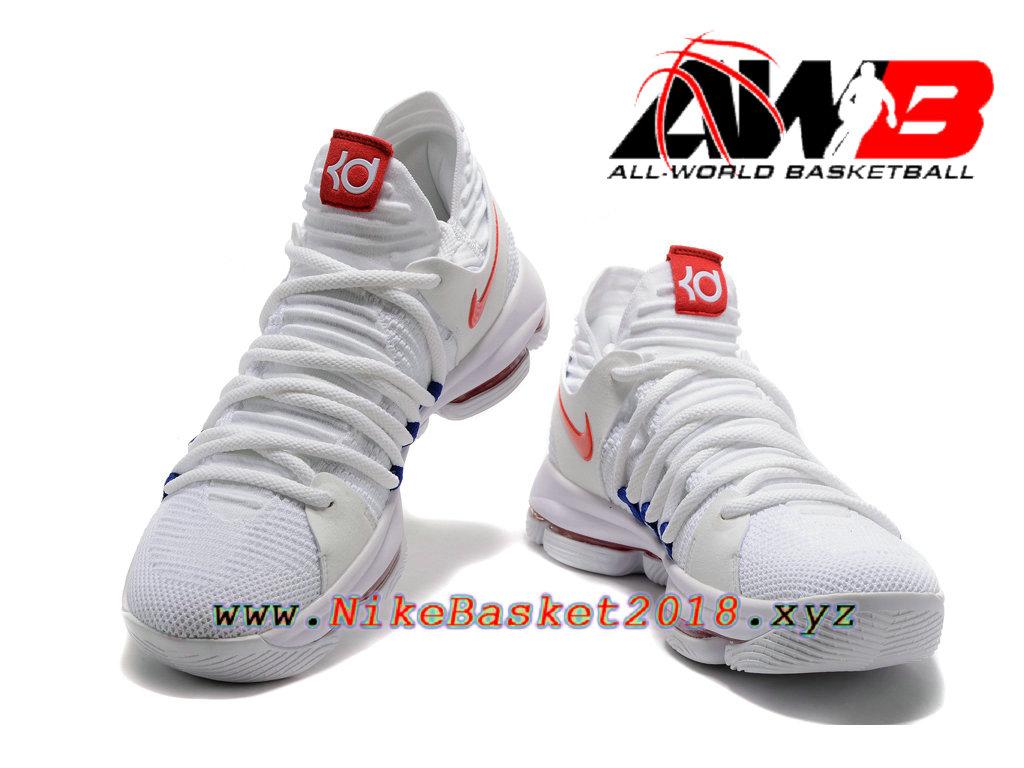 size 40 6075f 0c9a5 ... Chaussure de BasketBall Pas Cher Pour Homme Nike Zoom KD 10 EP Blanc  Rouge ...
