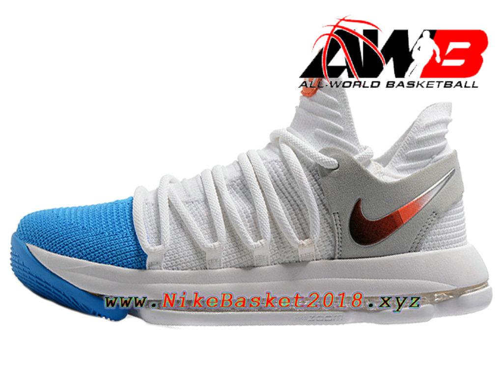 5158e5b653e164 Chaussure de BasketBall Pas Cher Pour Homme Nike Zoom KD 10 EP Bleu Blanc  Or ...