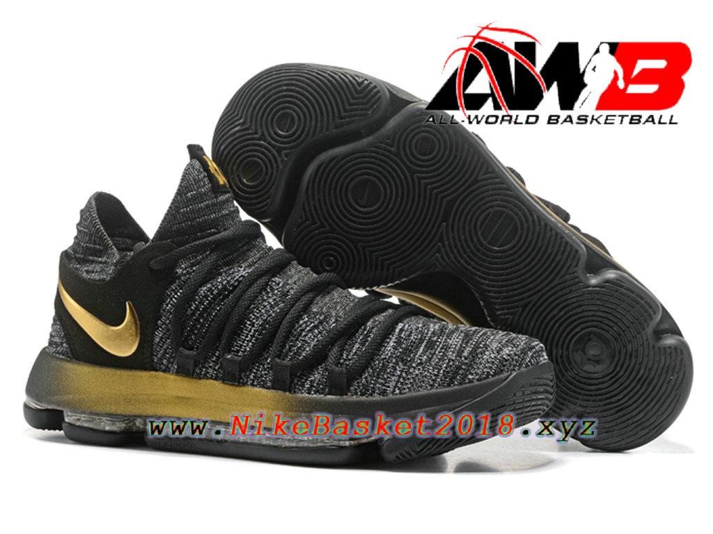 fe7e0a357e271 ... Chaussure de BasketBall Pas Cher Pour Homme Nike Zoom KD 10 EP Gris  Noir Or ...