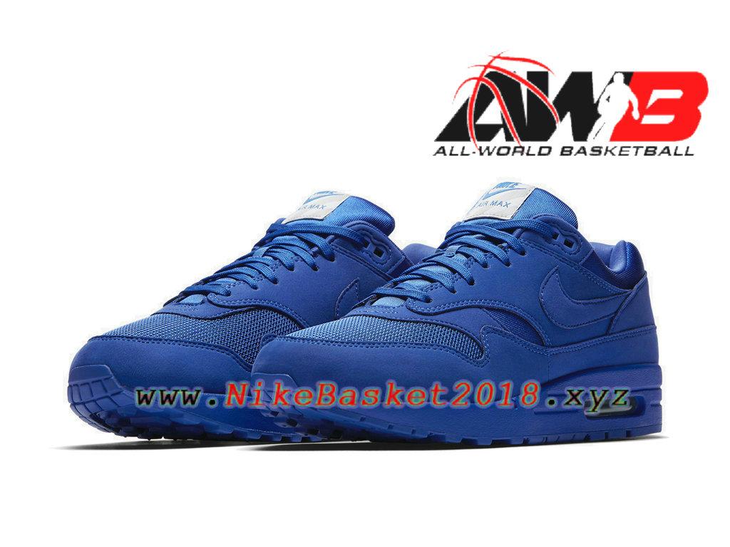 new products 68f22 ded9e ... Chaussures de Basket Pas Cher Pour Homme Nike Air Max 1 PRM Bleu 875844- 400 ...