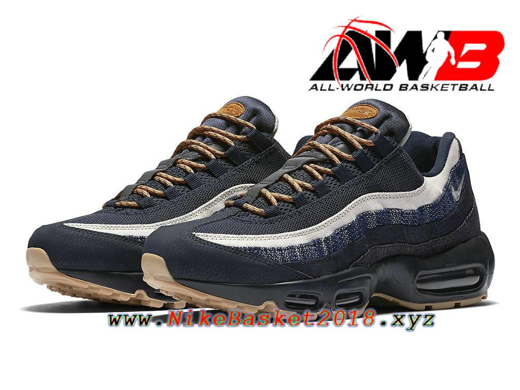 new styles bd475 e6303 ... Chaussures de BasketBall Pas Cher Pour Homme Nike Air Max 95 Premium  Denim Noir Blanc 538416_400 ...