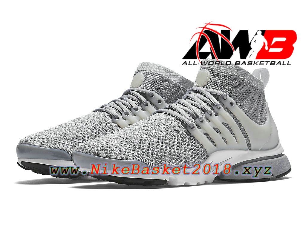best loved 4388c be226 ... Chaussures de BasketBall Pas Cher Pour Homme Nike Air Presto Flyknit  Ultra Gris Blanc 835570 002 ...