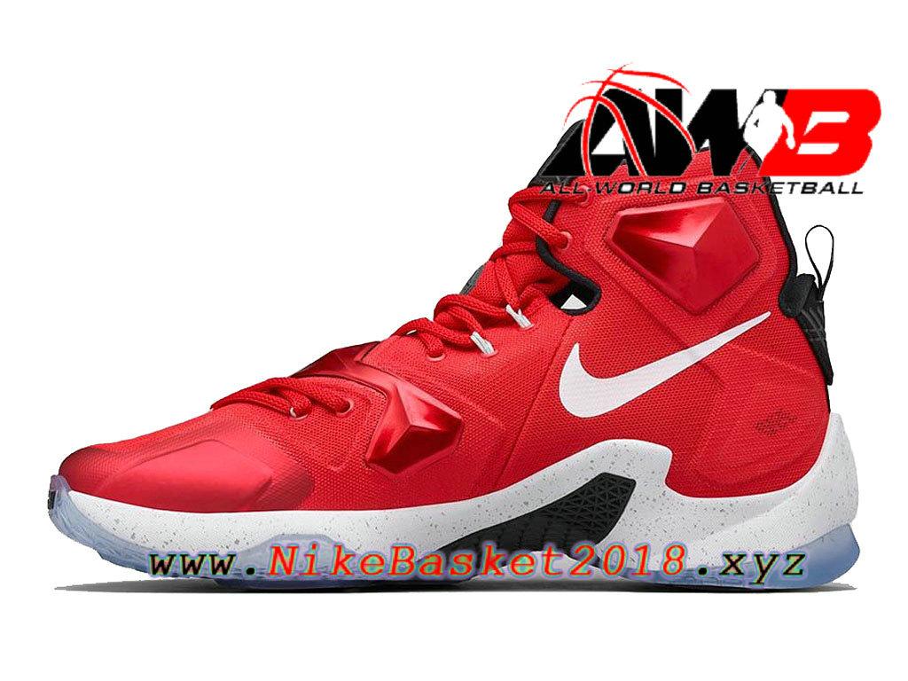 pretty nice 582c2 2dd5e ... Chaussures de BasketBall Pas Cher Pour Homme Nike Lebron 13 HOME Rouge  Noir 807219-610 ...