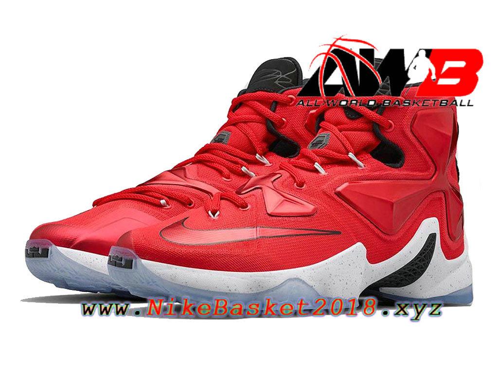 d99e8758fc6 ... Chaussures de BasketBall Pas Cher Pour Homme Nike Lebron 13 HOME Rouge  Noir 807219-610 ...