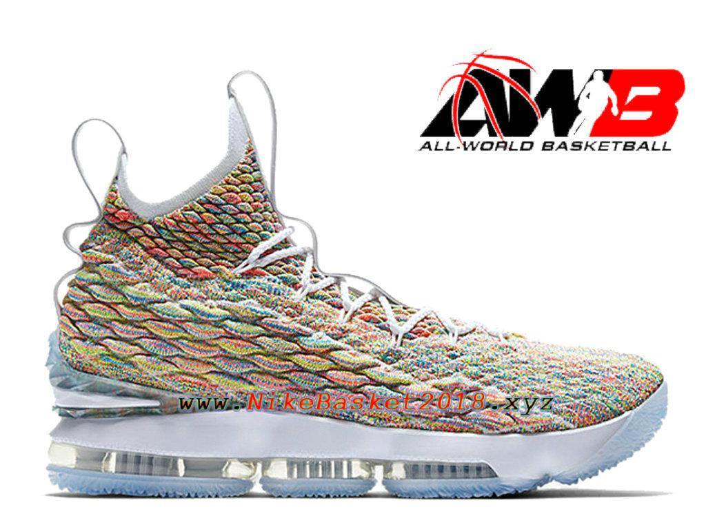 7af9c8e53e7b Chaussures de BasketBall Pas Cher Pour Homme Nike LeBron 15 Fruity Pebbles  Brun Blanc 897648- ...