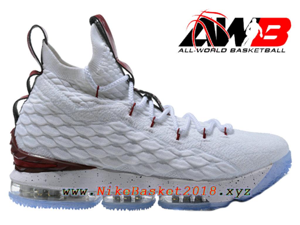 c3f5b89180ca Chaussures de BasketBall Pas Cher Pour Homme Nike LeBron 15 Prix Blanc  Rouge 897648-ID3 ...