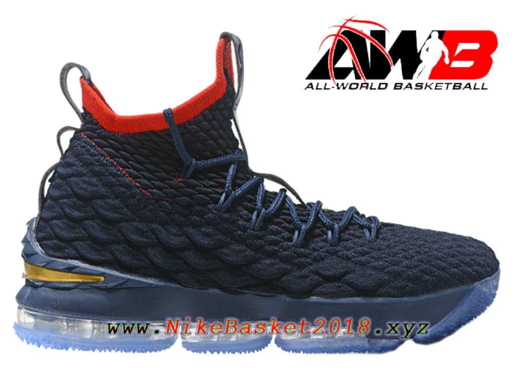 low priced f789b 8a1fb Chaussures de BasketBall Pas Cher Pour Homme Nike LeBron 15 Prix Bleu Rouge  897648-ID26