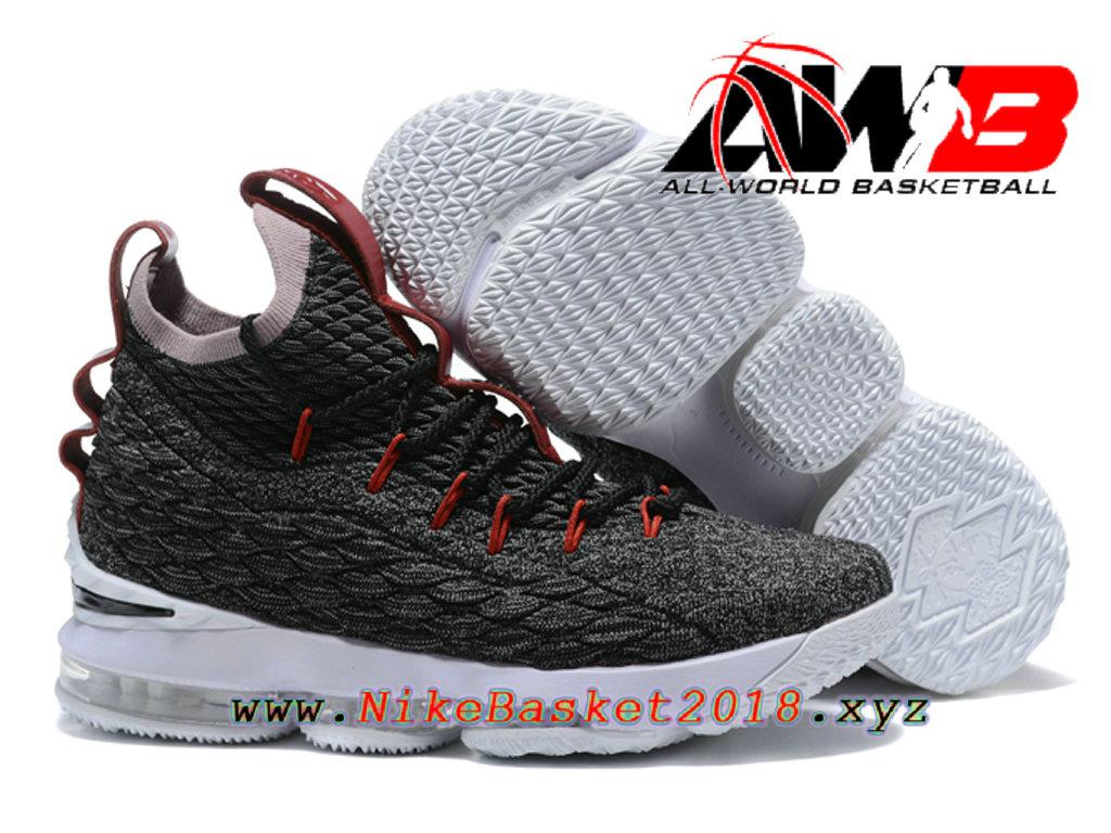49bcd1a1564a ... Chaussures de BasketBall Pas Cher Pour Homme Nike LeBron 15 Prix Gris  Blanc 897648-ID27 ...