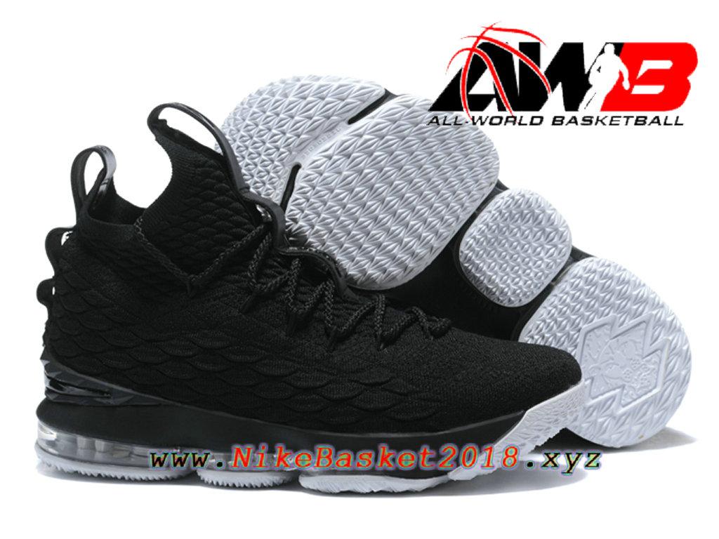 22d7c11a90531b ... Chaussures de BasketBall Pas Cher Pour Homme Nike LeBron 15 Prix Noir  Blanc 897649-ID30 ...