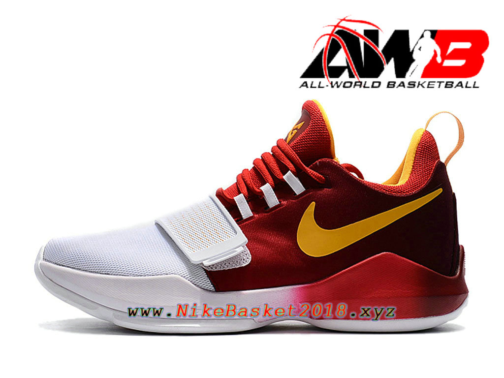 uk availability 42faa 3c1db Chaussures de BasketBall Pas Cher Pour Homme Nike PG 1 Hickory High PE  Rouge Blanc 878628 ...