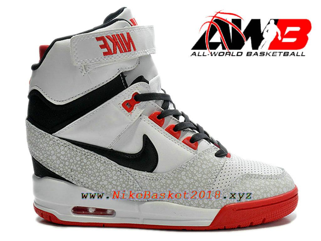 best service a5017 107d1 Chaussures Montante Nike Pas Cher Pour Femme Nike Air Revolution Sky Hi GS  Blanc Noir Rouge