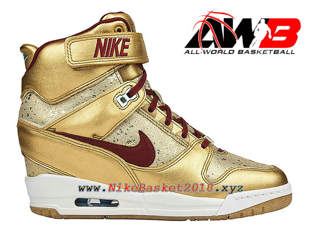 20a36b2b4f Chaussures Montante Nike Pas Cher Pour Femme Nike Revolution Sky Hi BHM GS  Or Rouge 649460 ...