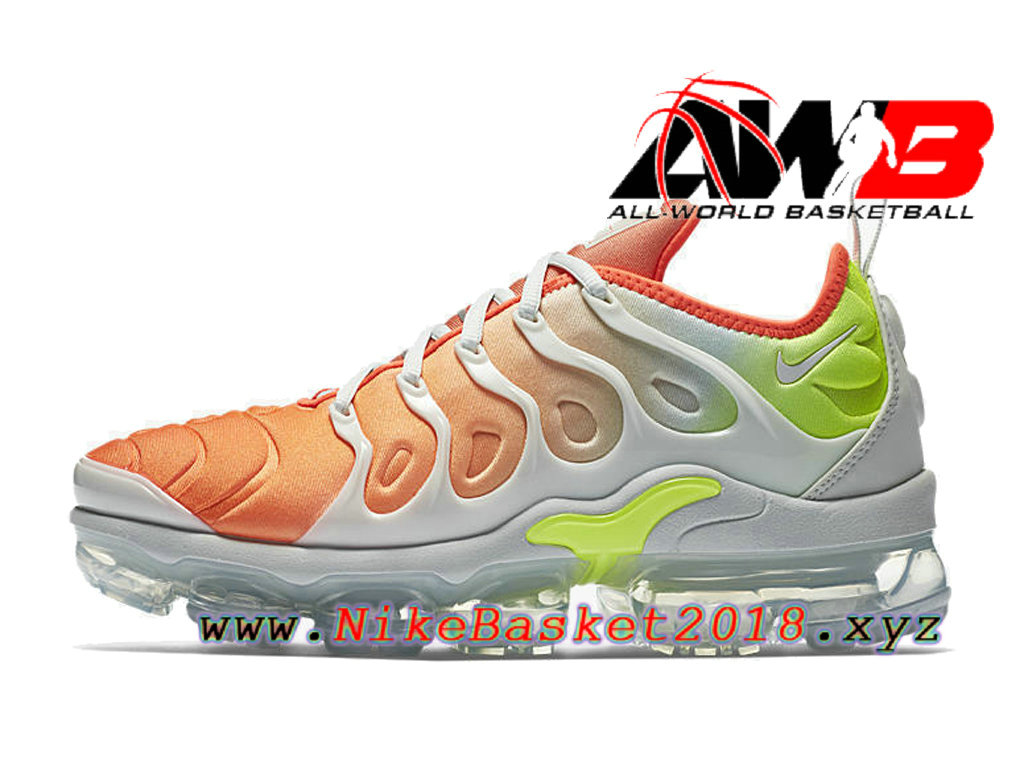 sports shoes f6591 5d1af ... Chaussures Nike 2018 Pas Cher Pour Homme Nike Air VaporMax Plus Orange Blanc  AO4550-003 ...