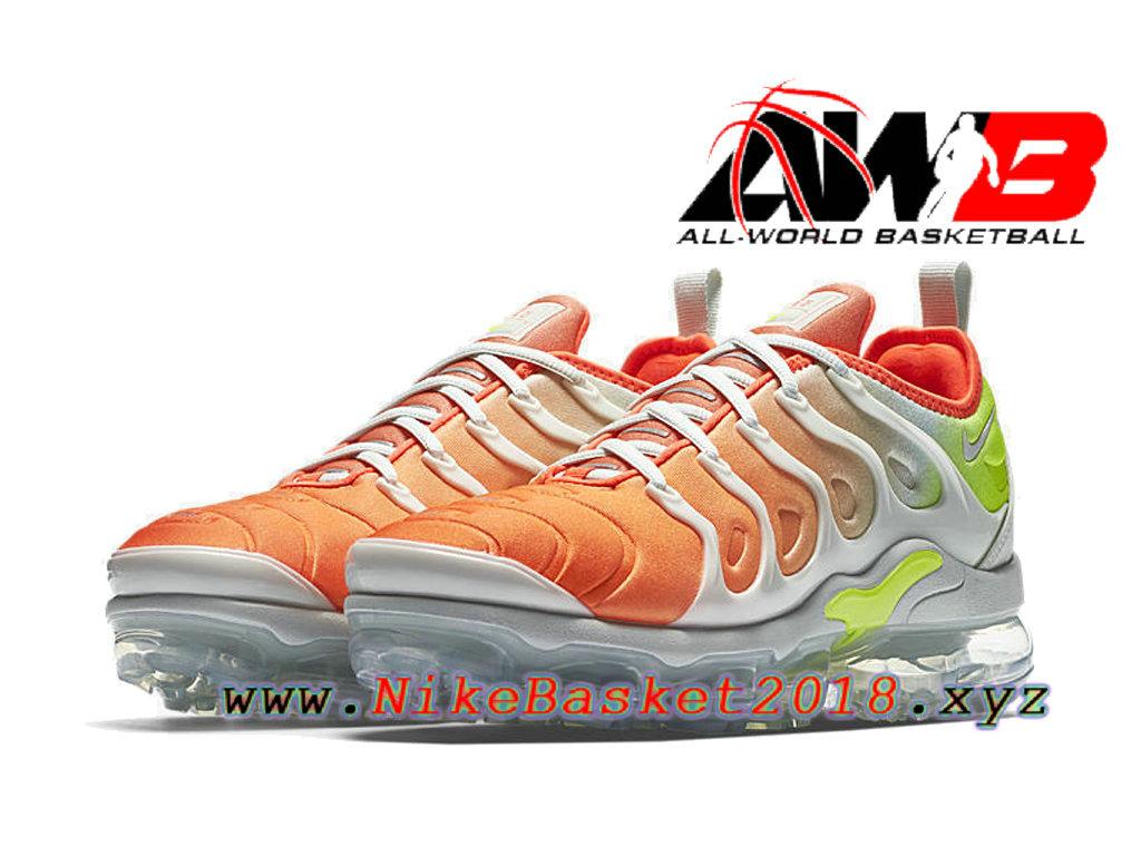 sports shoes ee912 626d5 ... Chaussures Nike 2018 Pas Cher Pour Homme Nike Air VaporMax Plus Orange  Blanc AO4550-003 ...