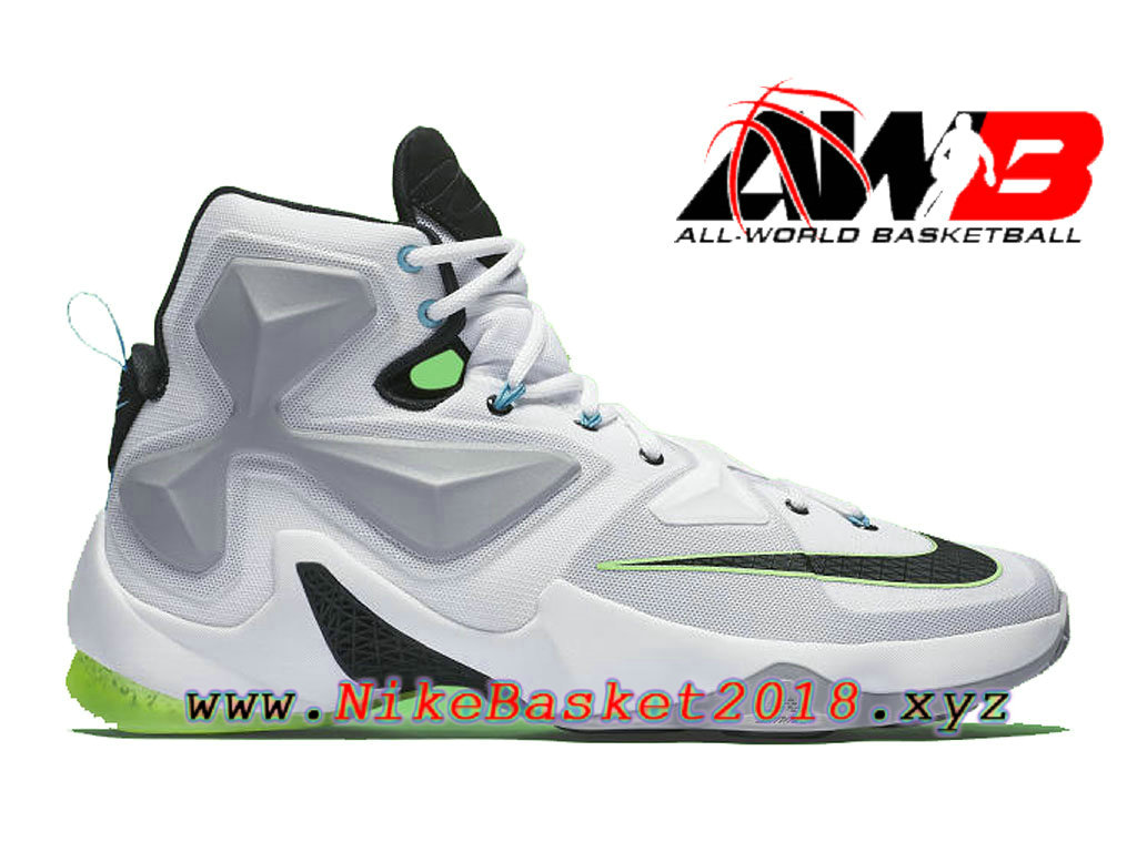 check out ab34e bbb00 Chaussures Nike Prix Pas Cher Pour Homme Nike LeBron 13 Command Force Blanc  Vert 807219- ...