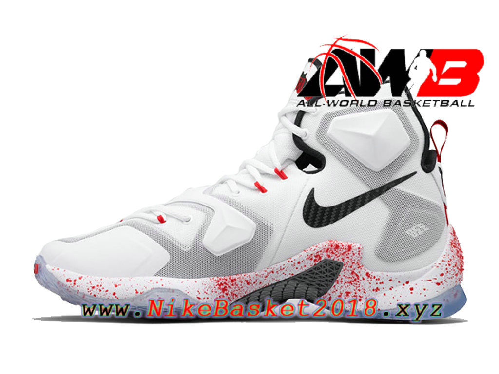 quality design e7de9 3977e ... Chaussures Nike Prix Pas Cher Pour Homme Nike LeBron 13 Horror Flick  Blanc Noir 807219- ...