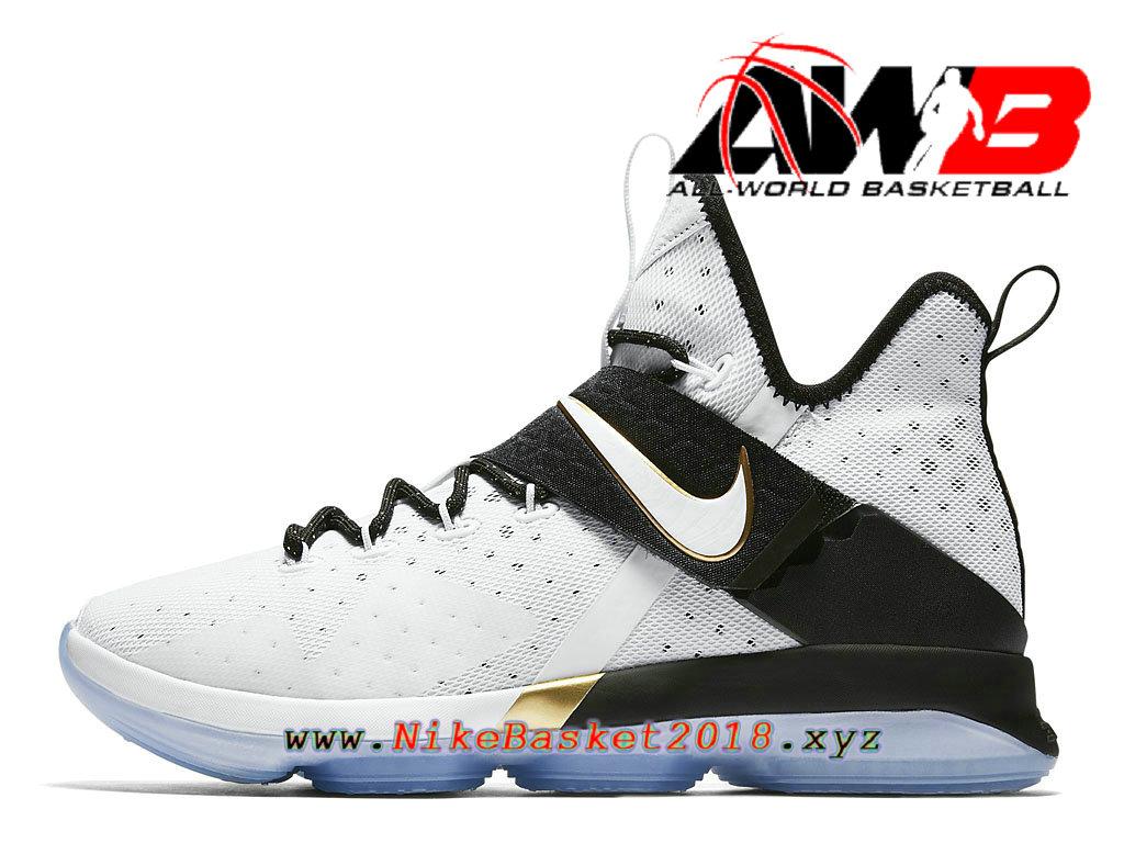 sale retailer b3dc5 07d43 Chaussures Nike Prix Pas Cher Pour Homme Nike LeBron 14 BHM Blanc Noir  860634 100 ...