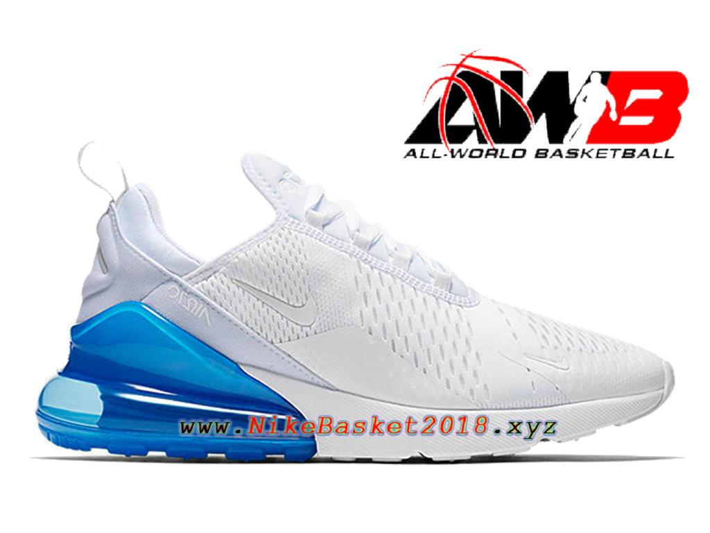 size 40 99f2c d7d98 Chaussures Officiel 2018 Pas Cher Pour Homme Nike Air Max 270 Blanc Bleu  AH8050-105 ...