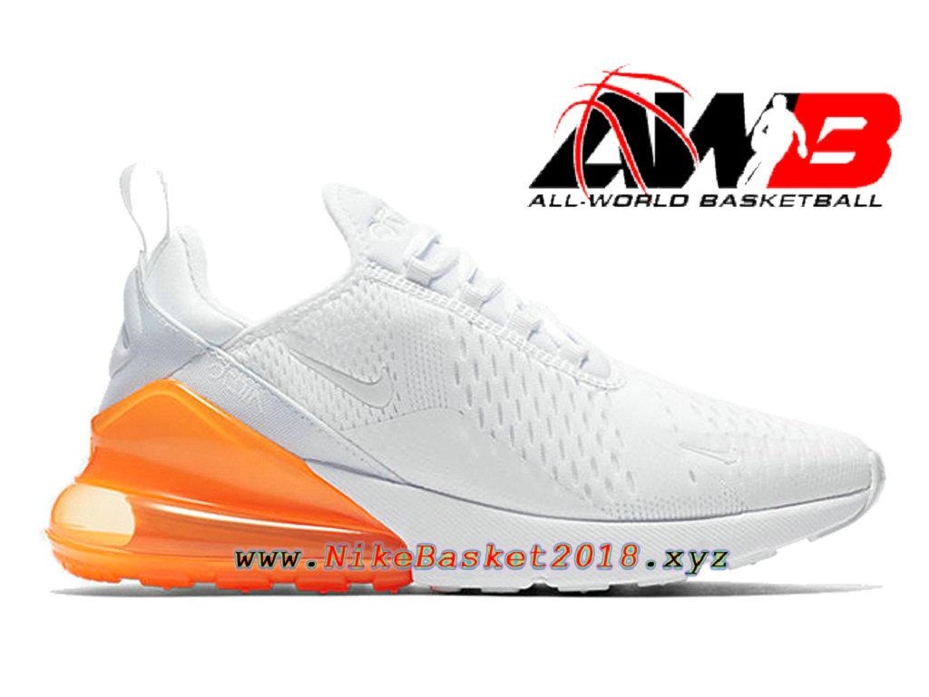 wholesale dealer d1237 83d5d Chaussures Officiel 2018 Pas Cher Pour Homme Nike Air Max 270 Blanc Orange  AH8050-102 ...