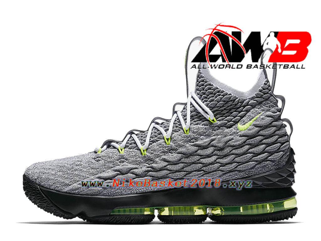 sports shoes 7ecad 7b1e5 ... Chaussures Officiel 2018 Pas Cher Pour Homme Nike LeBron 15 Air Max 95  Gris Vert AR4831 ...