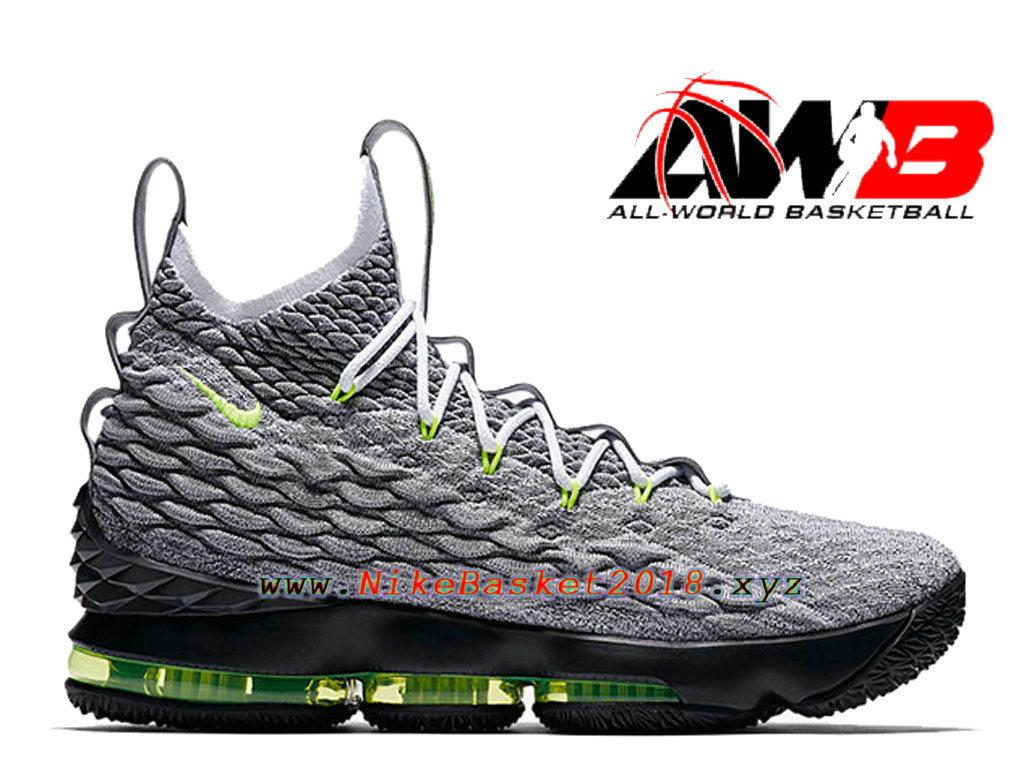 the latest e0d94 2fc50 Chaussures Officiel 2018 Pas Cher Pour Homme Nike LeBron 15 Air Max 95 Gris  Vert AR4831 ...