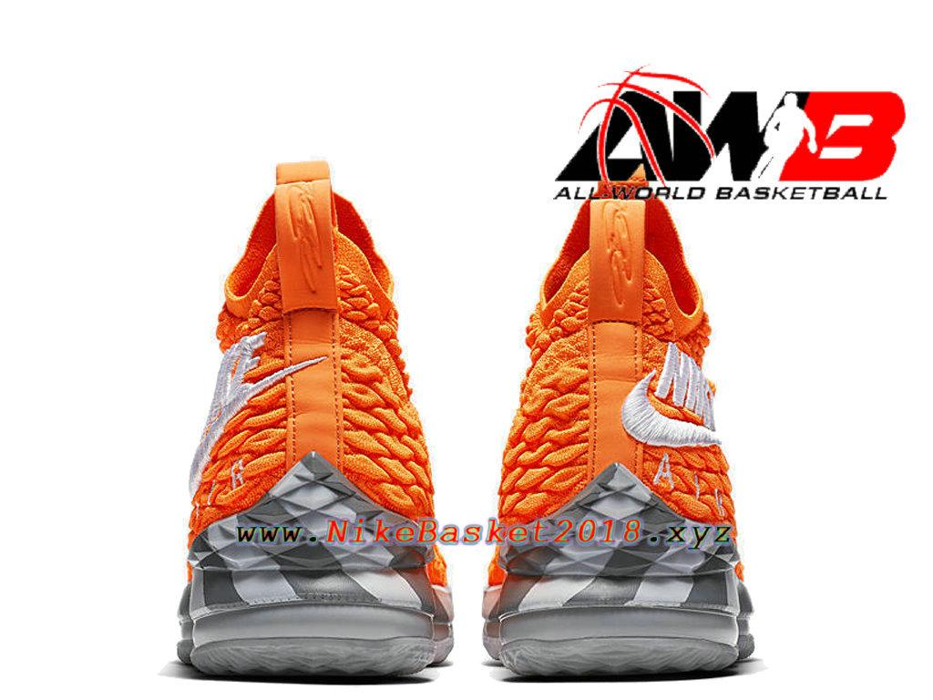 087c99cc00820 ... Chaussures Officiel 2018 Pas Cher Pour Homme Nike LeBron 15 Orange Box  Orange Gris AR5125-