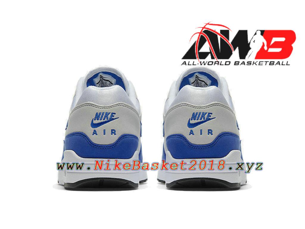 sports shoes 604af 5049d ... Chaussures Officiel Prix Pas Cher Pour Homme Nike AIR Max 1 Anniversary  Blanc Bleu 908375-