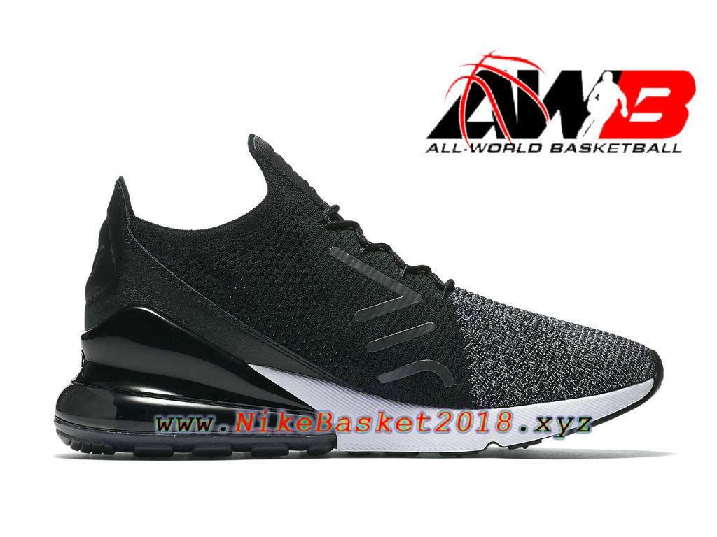 610d4aa22d07 ... Chaussures Officiel Prix Pas Cher Pour Homme Nike Air Max 270 Flyknit  Noir Blanc AO1023- ...